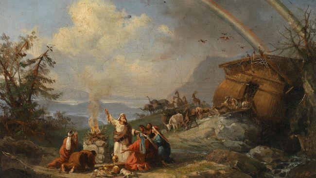 洪水後に神がアララト山に虹をかけた画