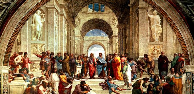 アテナイの学堂という絵画。中央の二人、左がプラトンでイデアを指している、右のアリストテレスは現実を指している。